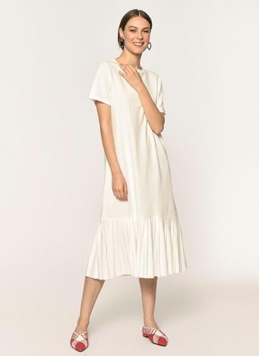 Loves You Eteği Piliseli Kısa Kol Elbise Beyaz